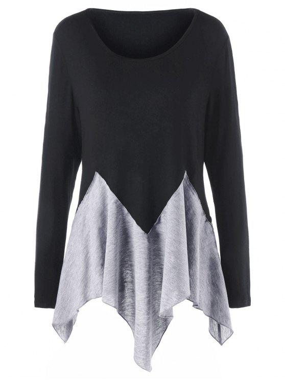 lady Plus Size Two Tone Long Sleeve Handkerchief T-shirt - BLACK AND GREY 3XL