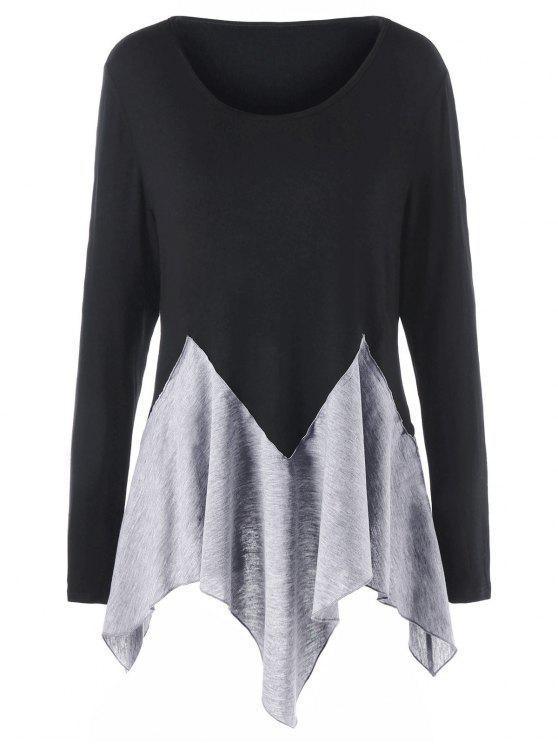 Plus Größe Zwei Ton Langarm Taschentuch T-shirt - Schwarz & Grau 4XL