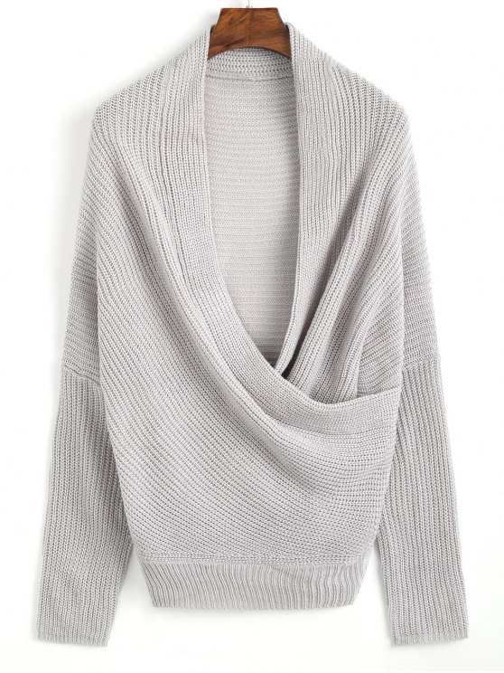 ladies Plunging Neck Ribbed Wrap Sweater - GRAY ONE SIZE