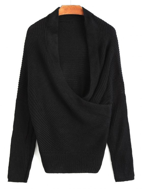 lady Plunging Neck Ribbed Wrap Sweater - BLACK ONE SIZE