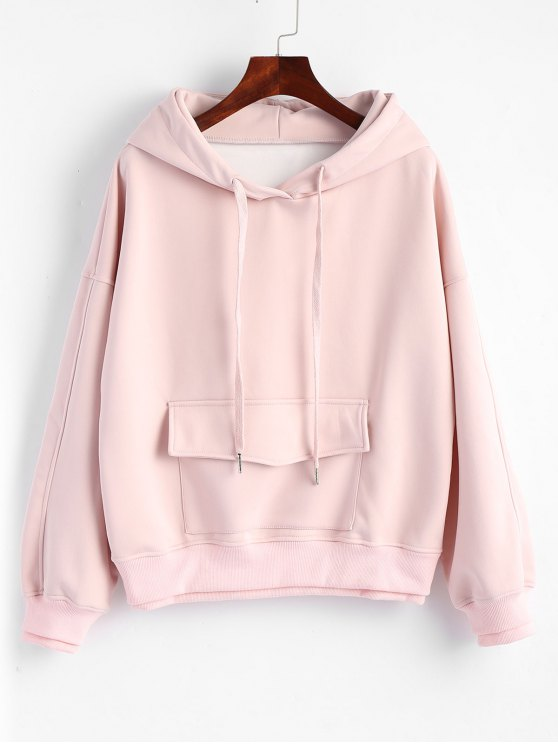 outfits Flap Pocket Layered Drawstring Hoodie - PINK XL
