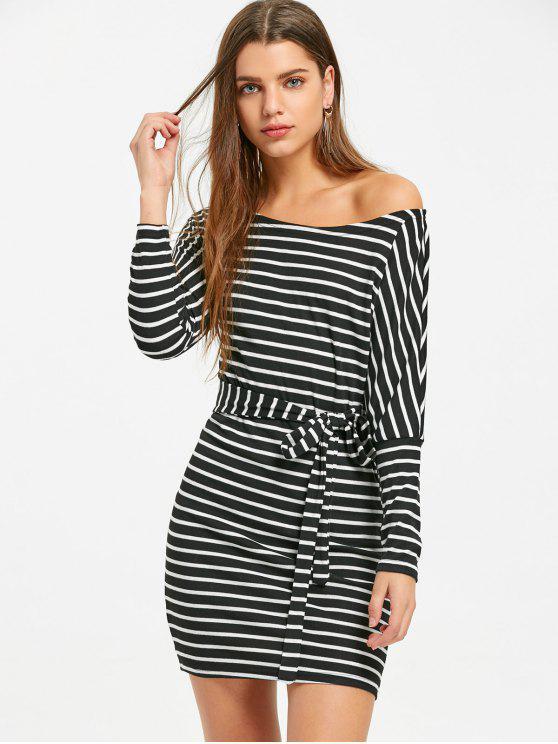 فستان مصغر مخطط منحرق الرقبة - شريط XL