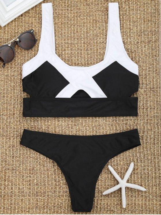 trendy Two Tone Cut Out Thong Bikini Set - BLACK S
