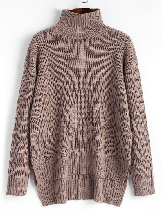 High Low Pullover Turtleneck Sweater GREYISH BROWN: Sweaters ONE ...