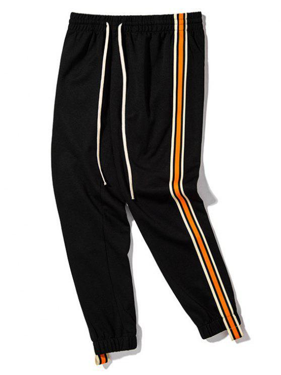 Pantalones de chándal con cordón lateral de rayas - Negro L