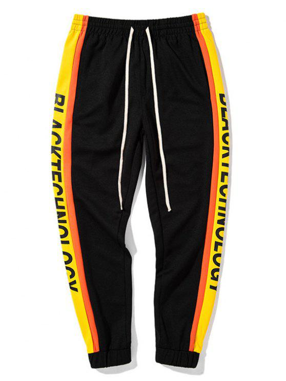women Side Letter Drawstring Sweatpants - YELLOW AND BLACK L