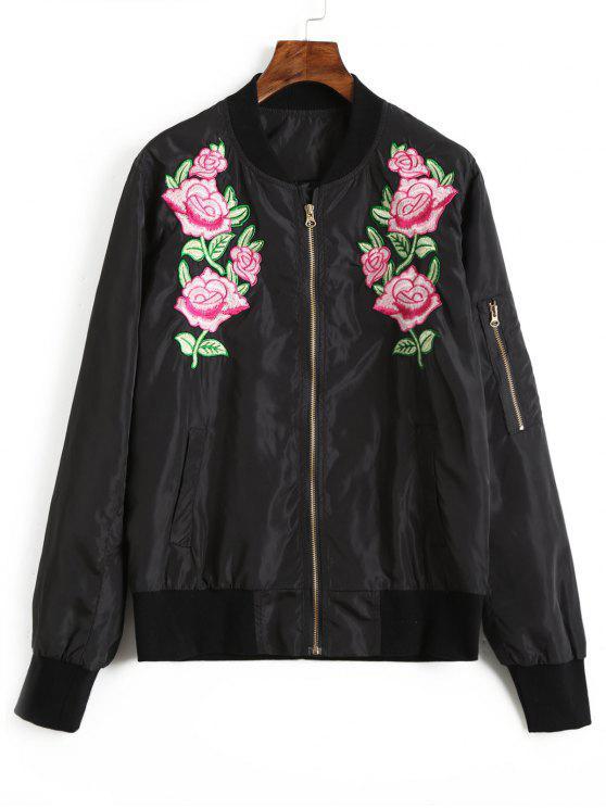 unique Floral Embroidered Bomber Jacket - BLACK L