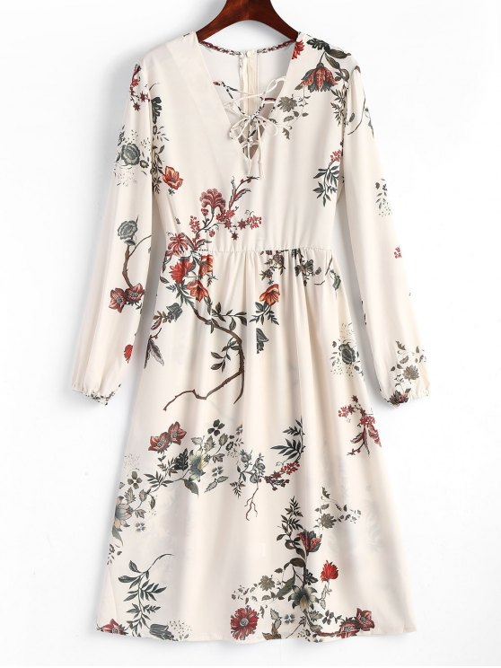42% OFF  2019 Floral Lace Up Midi Long Sleeve Dress In FLORAL L  25aa778dc