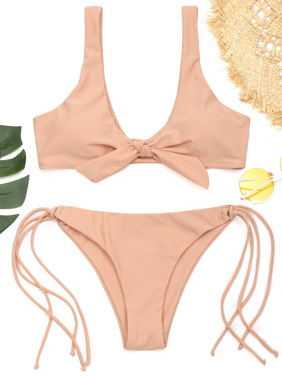 new Front Knotted Padded String Bathing Suit - PINKBEIGE S