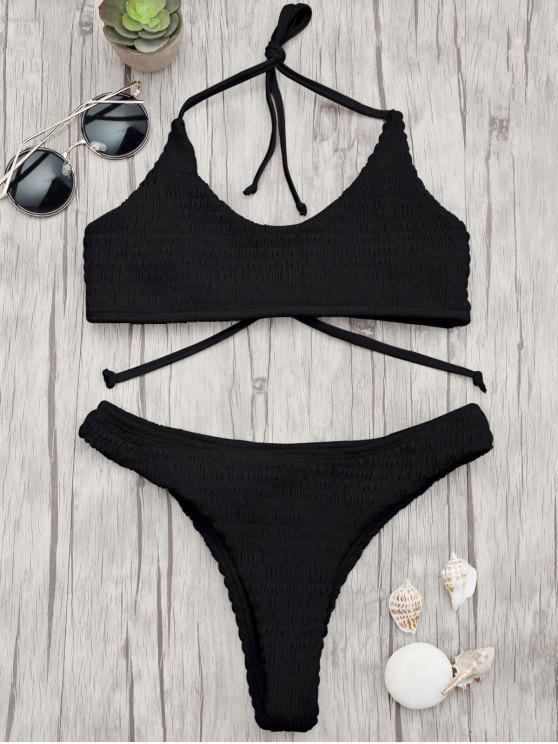 best Padded Smocked Bralette Bikini Set - BLACK S