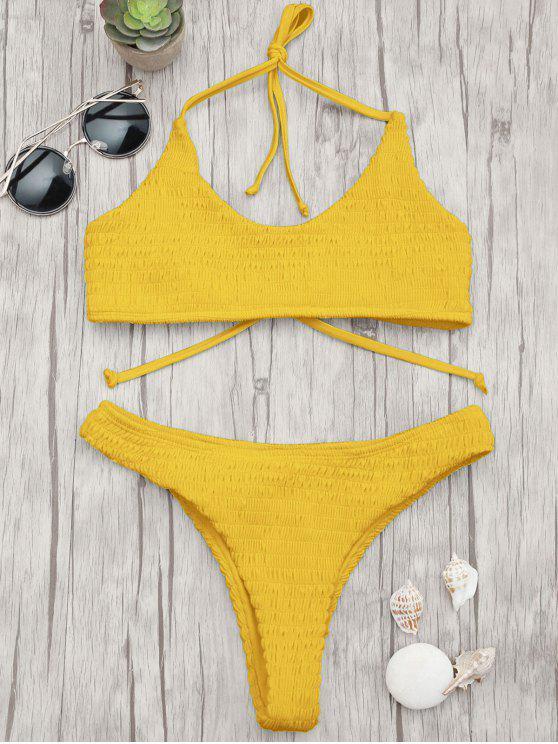 070f7e55cc4673 21% OFF  2019 Padded Smocked Bralette Bikini Set In GINGER
