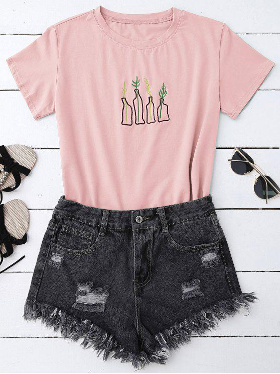 online Plant Embroidered T-Shirt - PINK ONE SIZE