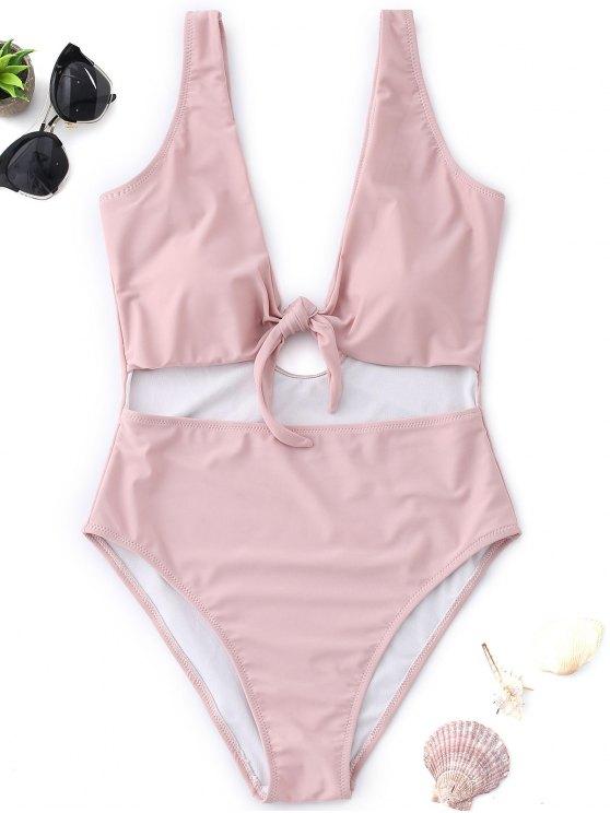 chic Cutout Knot High Cut Swimsuit - PINK M