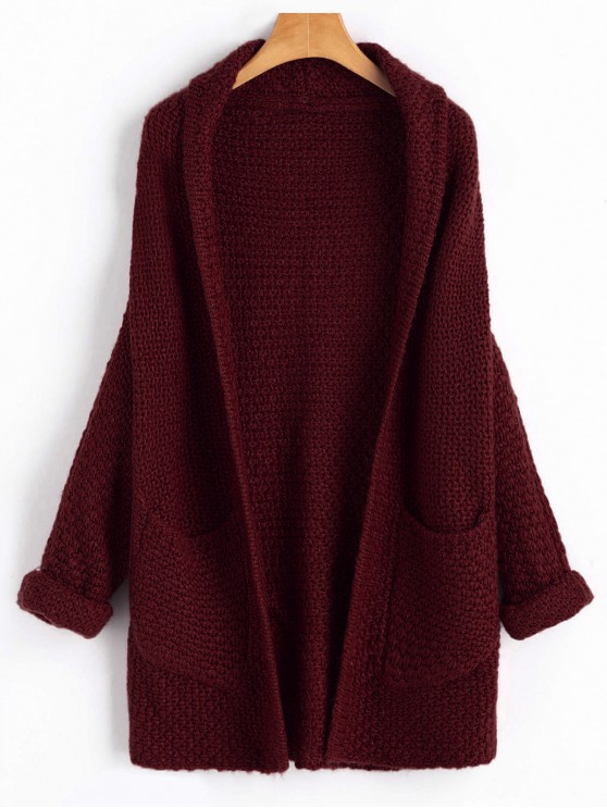 ladies Curled Sleeve Batwing Open Front Cardigan - WINE RED ONE SIZE