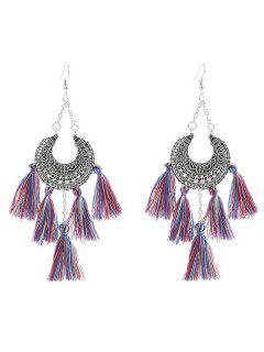 Alloy Tribal Moon Tassel Chandelier Earrings - Silver