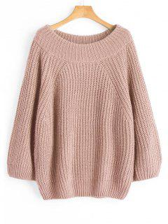 Chunky Off Shoulder Pullover Sweater - Nude Pink