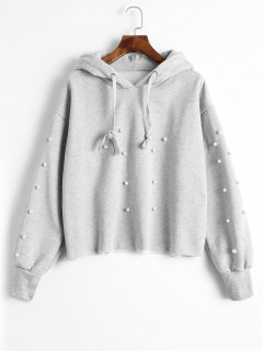 Faux Pearl Tunic Hoodie - Gray M