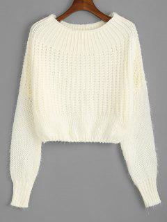 Off The Shoulder Pullover Chunky Pullover - Beige (weis)