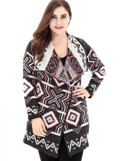 Geometric Lapel Plus Size Sweater Cardigan