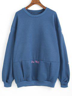Sweat-shirt Tunique Floral Avec Poche Kangourou - Bleu