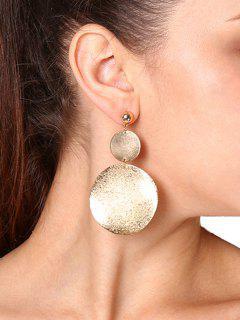 Round Disc Drop Earring - Golden