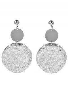 Round Disc Drop Earring - Silver
