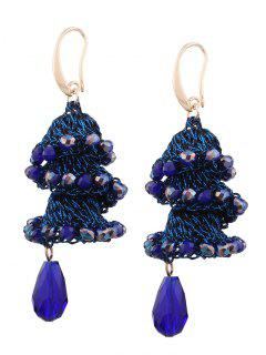 Spiral Tassel Beaded Ethnic Pendant Earrings - Cerulean