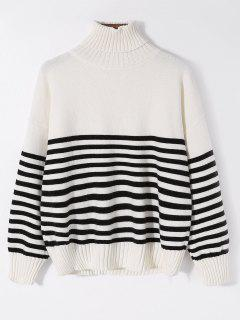 Striped Turtleneck Ribbed Hem Sweater - White