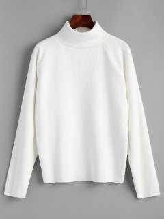 Raglan Sleeve Pullover Turtleneck Sweater - White
