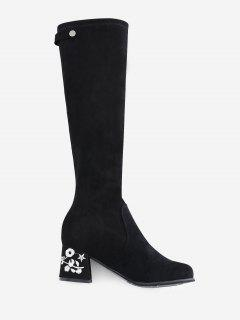 Floral Embroidery Chunky Heel Knee High Boots - Black 38