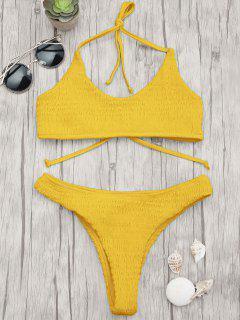 Gepolsterter Smocked Bralette Bikini Set - Ingwer-gelb S