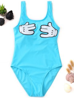 Gesture Graphic One Piece Swimsuit - Lake Blue M