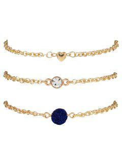 Natural Stone Rhinestone Heart Bracelet Set - Ink Blue
