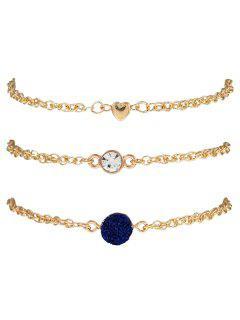 Natural Stone Rhinestone Heart Bracelet Set - Ink Blue