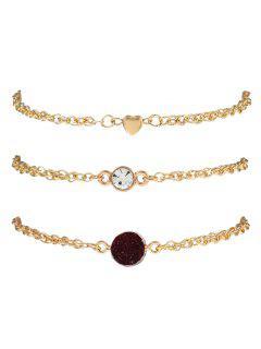 Natural Stone Rhinestone Heart Bracelet Set - Valentine