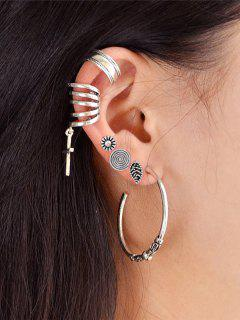 Crucifix Leaf Circle Cartilage Earring Set - Silver