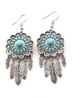 Faux Turquoise Blossom Feather Bohemian Earrings - Silver