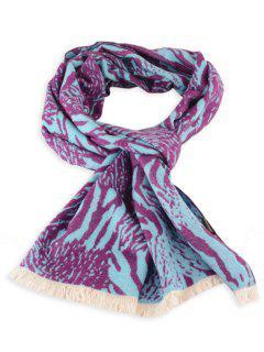 Pañuelo De Invierno Con Flecos De Cebra - Púrpura