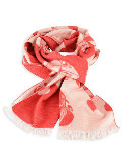 Letter Heart Pattern Fringed Winter Scarf - Bright Red