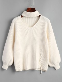 Lantern Sleeve Lace Up Choker Sweater - White