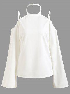 Tunic Cold Shoulder Halter Blouse - White S