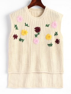Vest High Low Floral Embroidered Sweater - Off-white