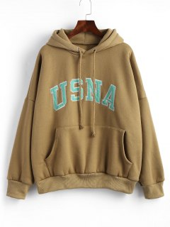 Drawstring Letter Patches Oversized Hoodie - Clay Brown