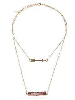 Natural Stone Layered Arrow Pendant Necklace - Mocha