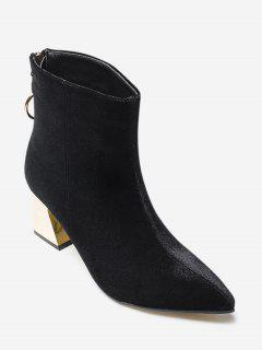 Metallic Heel Faux Suede Ankle Boots - Black 39