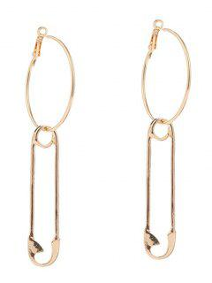 Alloy Pin Circle Hoop Drop Earrings - Golden