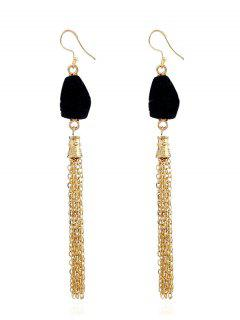 Natural Stone Fringed Chain Drop Earrings - Black