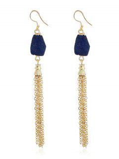 Natural Stone Fringed Chain Drop Earrings - Ink Blue