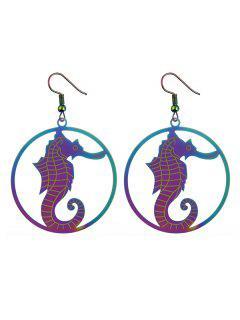 Circle Hippocampus Hook Earrings