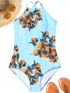 Traje De Baño Con Cordones Y Espalda Estampada Naranja - Azul Claro S